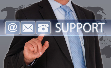 Support - Businessman with touch screen photo