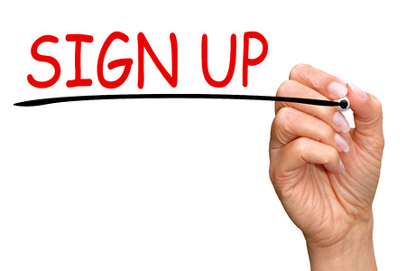 signup: Sign up Stock Photo