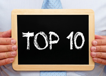 ten: Top 10 - Businessman with chalkboard Stock Photo
