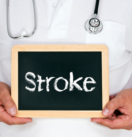 Stroke - Physician with chalkboard photo