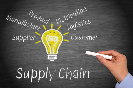 hand chain: Supply Chain - Business Concept