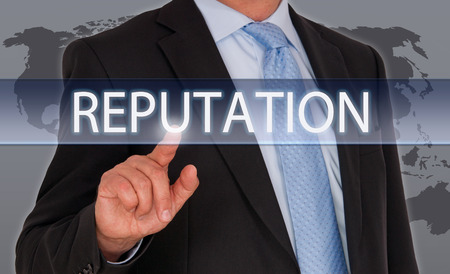 brand: Reputation - Businessman with touchscreen