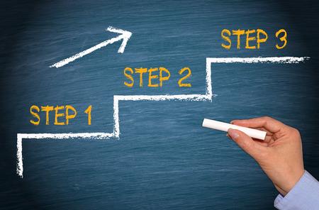 step up: Step 1 - Step 2 - Step 3 Stock Photo