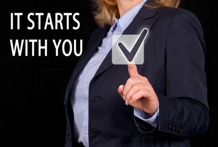 Het begint met u Stockfoto