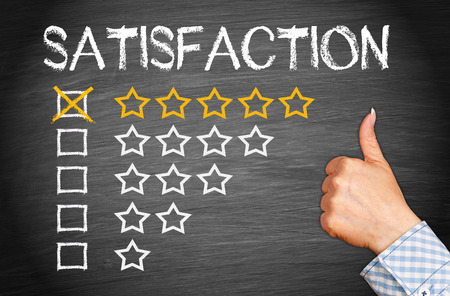 reviews: Total Satisfaction - Five Stars Stock Photo