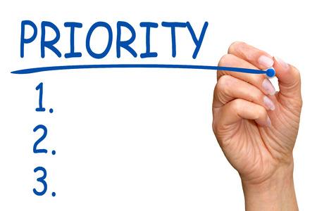 Priority Checklist Stockfoto