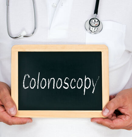 colonoscopy: Colonoscopy - physician with chalkboard