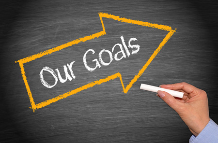 achieve goal: Our Goals - Business Concept Stock Photo
