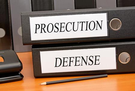 orden judicial: Fiscalía y Defensa Foto de archivo