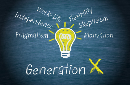 Generation X concept on chalkboard Imagens
