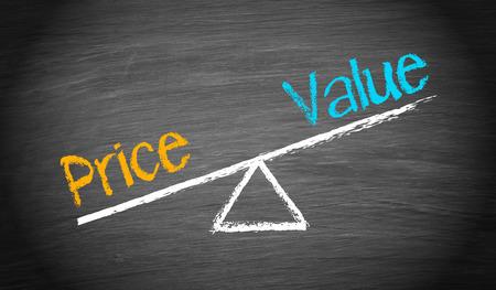 value: Prezzo e Valore - Finance Concept Archivio Fotografico