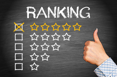 five stars: Excellent Ranking - Five Stars Stock Photo