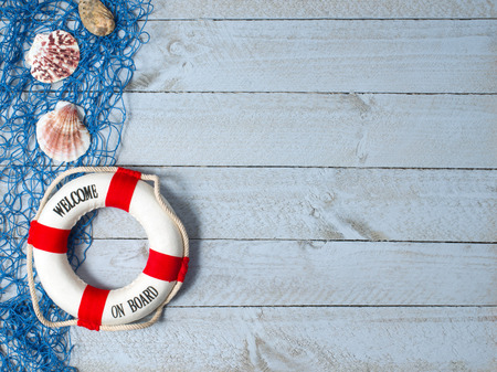 beach buoy: Welcome on Board Stock Photo