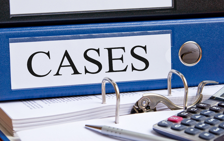 Cases - blue binder in the office