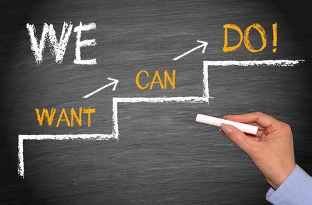 we: We do it - Motivation Concept Stock Photo