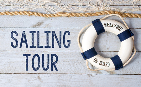 beach buoy: Sailing Tour - Welcome on Board Stock Photo
