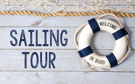 redes de pesca: Vela Tour - Bienvenido a bordo Foto de archivo