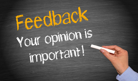 vélemény: Visszajelzés - az Ön véleménye fontos! Stock fotó