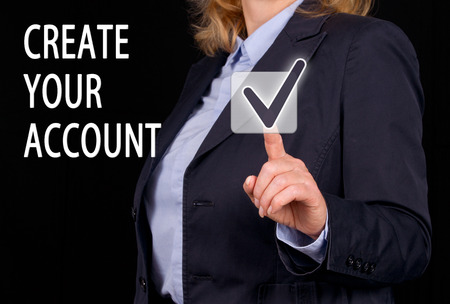 bank accounts: Create your Account Stock Photo