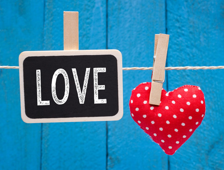 Love - red heart with chalkboard photo