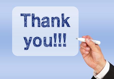 trato amable: Gracias !!! Foto de archivo