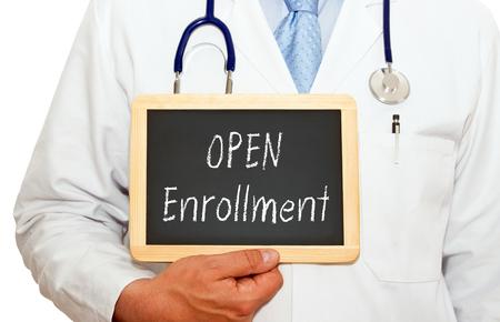 offen: Offene Anmeldung - Arzt mit Tafel Lizenzfreie Bilder