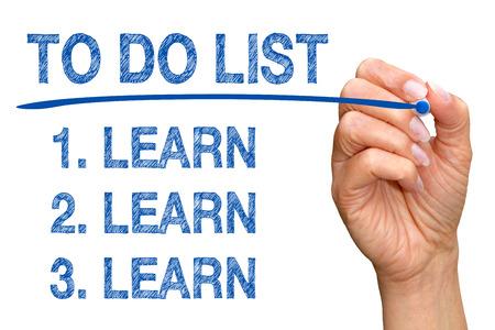 education goals: To Do List - Learn Learn Learn Stock Photo