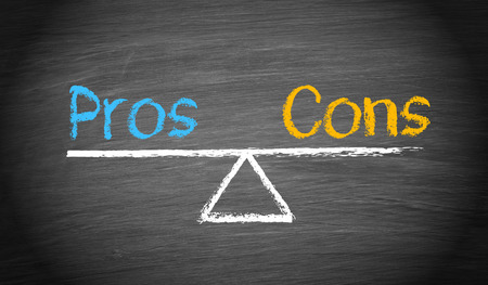 per: Pros and Cons - Balance Concept Stock Photo