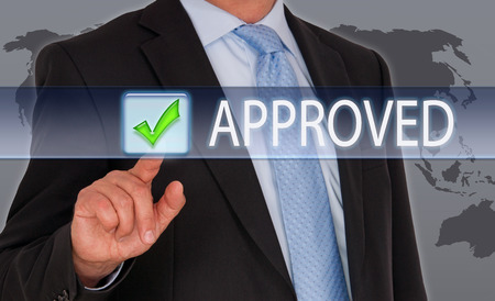 approved: Approved - Businessman with Button