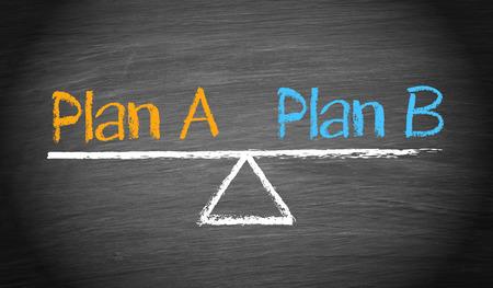 planificacion: Plan A y Plan B - Saldo Concepto Foto de archivo