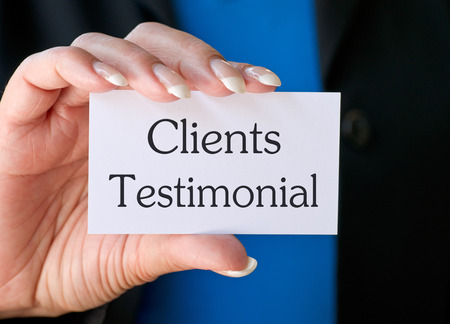 affirmations: Clients Testimonial Stock Photo