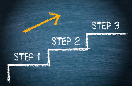 Step 1 - Step 2 - Step 3 Stockfoto