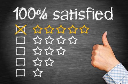 spokojený: 100 procent spokojeni Reklamní fotografie
