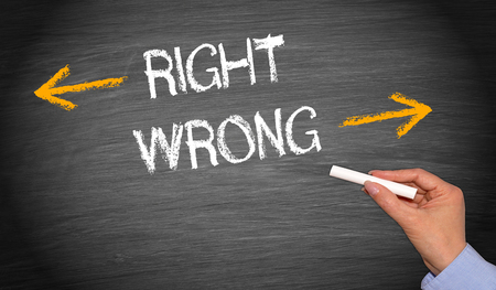 right vs wrong: Right or wrong - evaluation concept Stock Photo