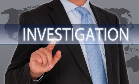private information: Investigation - Businessman with touchscreen