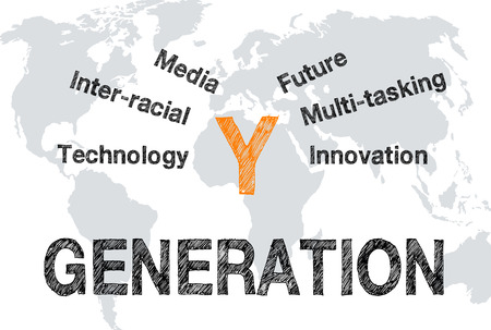 generation y: Generation Y - Marketing and targeting concept Stock Photo