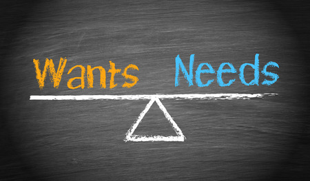 Wants and Needs - Balance Concept Banque d'images
