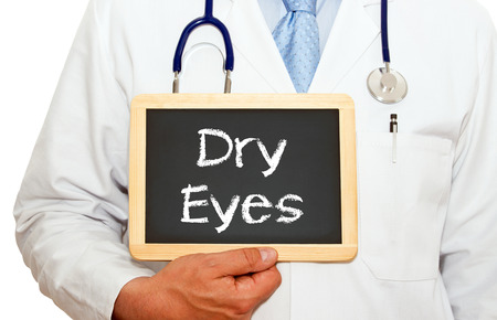 Dry Eyes - Doctor with chalkboard Stock Photo - 44247335