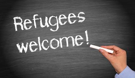 conflictos sociales: Se aceptan los refugiados Foto de archivo