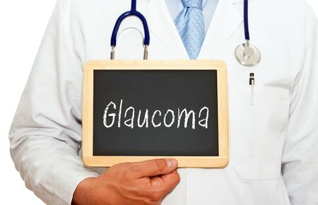 ocular diseases: Glaucoma - Doctor with chalkboard Stock Photo