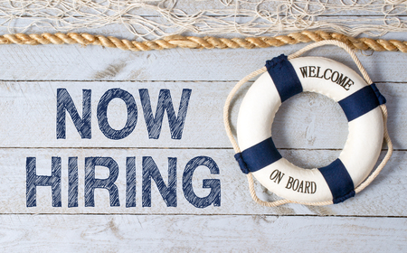 Now hiring - welcome on board Stock Photo