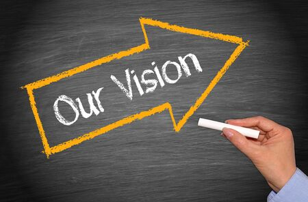 our vision: Our Vision - Arrow with text Stock Photo