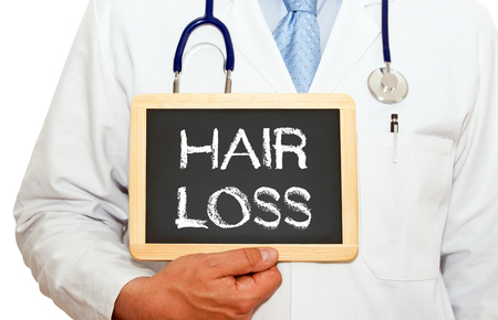 job loss: Hair Loss - Doctor with chalkboard