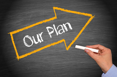 businessplan: Our Plan - arrow with text