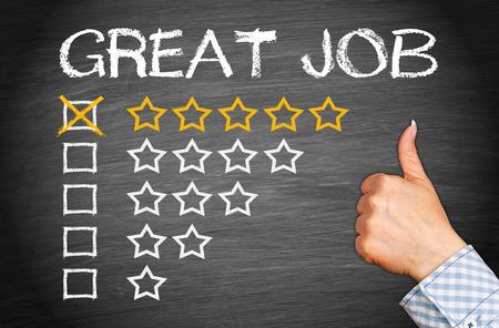 puesto de trabajo: Gran trabajo - Evaluación con 5 estrellas