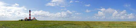 westerheversand lighthouse: Lighthouse at the Coast - Panorama Image