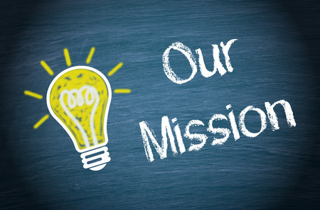 our company: Our Mission - light bulb with text Stock Photo