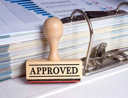 Approved - rubber stamp with text Stock Photo - 49218642