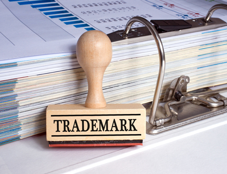 Trademark - rubber stamp in the office Stock Photo