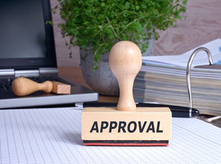 approval stamp: Approval rubber stamp in the office